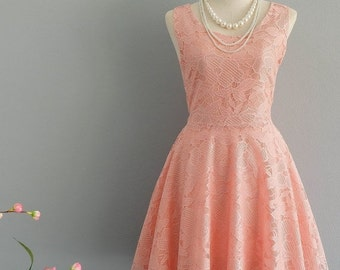 30% SALE Party Angel Dress Peach Lace Lace Backless Dress Peach Prom Party Wedding Bridesmaid Dress Peach Lace Dress Cocktail Lace Dress XS-