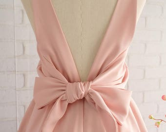 Light pink Nude dress pink party dress pink cocktail dress Light nude pink bridesmaid dress pink backless dress rose nude pink dresses