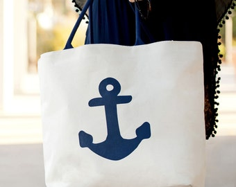 Personalized Anchor Canvas Tote