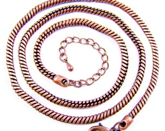 Necklace Chain Calypso Snake - Copper Plate - Adjustable 19 20 21 inch - Thick Strong 3mm