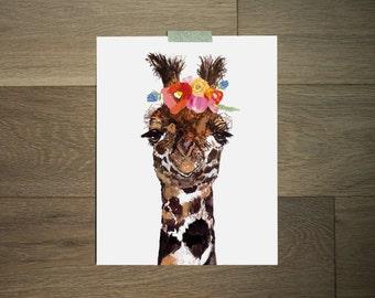 Giraffe art print - flower crown - funny art - nursery art
