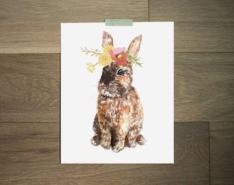 Bunny nursery art, Flower bunny print, Watercolor Floral bunny, Rabbit wall art, Little girls wall art 8x10