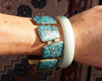 Spring SALE Indian Inlay Mosaic Turquoise Paisley Bracelet