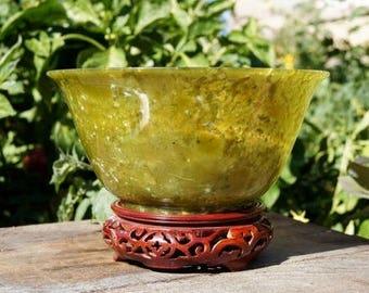 Mottled Apple Jade Chinese Jade Bowl