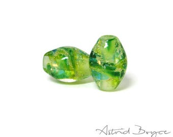Greenery Sparkle Ovals Artisan Lampwork Bead Pair -  Glass paired with fine Italian Silver  -  these pair perfectly with 2mm Leather
