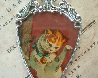 Fiona & The Fig-Victorian Era-Antique-Victorian Trade Card-Cat-Soldered Charm - Necklace - Pendant-Jewelry
