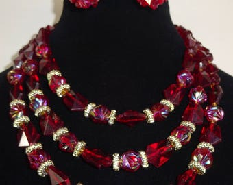 Vintage Three Strand NEcklace and Earrings Made in Western Germany Cranberry Red Iridescent Beads with Necklace and Earrings