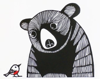 Bear and Robin, Original Linocut Print, Signed Open Edition,  Free Postage in UK, Hand Pulled, Printmaking,