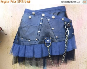 "20%OFF BURNING MAN black & blue patchwork leather mini skirt/belt.....30"" to 38"" hip"