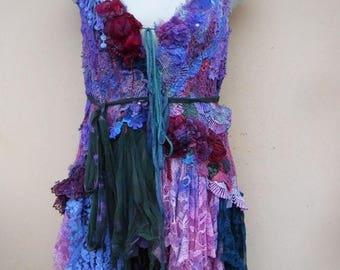 "20%OFF gothic bohemian lagenlook gypsy vintage boho vest.smaller to 36"""