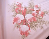 Vintage Tablecloth Pink Lilies California  53 x 65