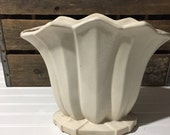 mccoy cream vase home decor vintage home pottery christmas vase holidays  collection collectable large vase off white