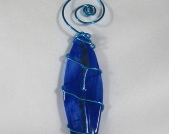 Blue Swirl Surfboard Ornament - Fused Glass -  Dichro