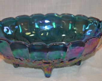Blue Carnival Glass Centerpiece Bowl by Indiana Glass