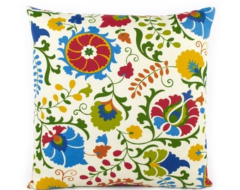 Outdoor Floral Pillow Cover, 18x18, 20x20, 22x22, Euro Sham or Lumbar Pillow, Outdoor Throw Pillow Cover, Colorful Cushion, Floral Pop