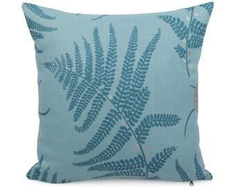 Blue and Metallic Silver Floral Cushion, Fern Accent Pillow, Woodland Decor Linen Pillowcase, Lumbar or Square Custom Sham, Salzburg Blue