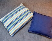 Microwave Heating Pad, Large Corn Bag, Microwave Heat Pack, Bed Warmer, Corn Heated Bag, Muscle Aches -- Navy Stripes Gift Set - LAST ONE