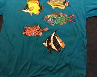 Vintage Tshirt. Fish Shirt. Vintage Puffy Paint Fish Tshirt.