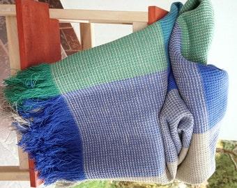 Linen-Cotton blanket-classic waffle--throw--Green-Blue