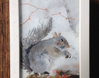 Grey Squirrel foraging in the frost,  reverse painted on glass, framed