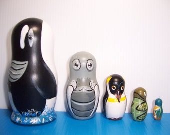 Hand painted Sea Life Collection stacking nesting doll set