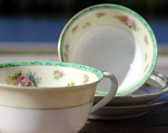 2 Noritake Tea Cups, Vintage Teacups and Saucers, Matching Japanese Tea, Bone China 13853