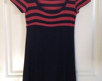 Women's 90's short sleeve burnt orange blood orange and black striped empire waist mini dress by BCBG size Small