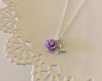 Personalized Flower Girl Necklace | Purple Flower Girl Necklace | Initial Charm | Girls Jewelry | Flower Girl Gift | Custom Necklace