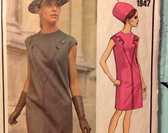 "Vintage Vogue 1947 Paris Original Molyneux Sheath Dress Sewing Pattern 36"" Bust 1960s"