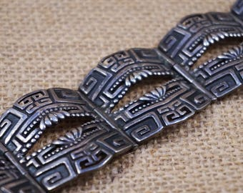Early Margo de Taxco Sterling Silver Mexico Aztec Bracelet FREE Shipping