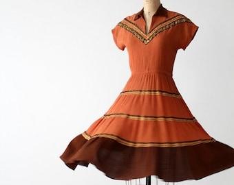 SALE 1950s southwestern gauze dress