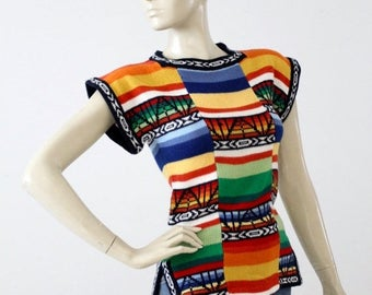 SALE 1970s hippie sweater, vintage boho knit top