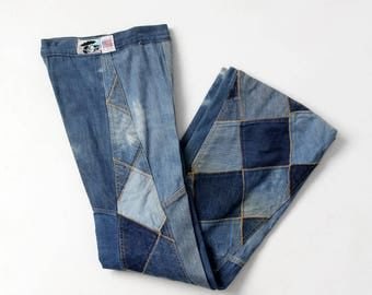 1970s Antonio Guiseppe jeans, denim patchwork bell bottoms, 26 x 34