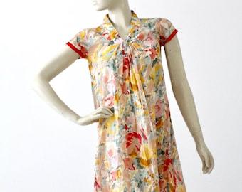 vintage 70s floral cotton shift dress