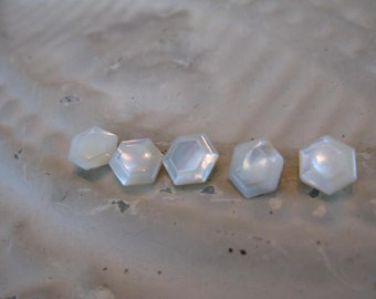 """Set of 5 Art DECO  Gorgeous Seashell Pearlized Hexagon  Buttons 1/2""""  from 1930s Stash More in SEASEARIDER Convo for a Size, Style, Color"""