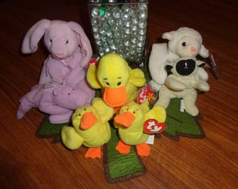 RARE! Retired Ty Beanie Babies Easter Lot: Floppity Quackers Fleece MWMT