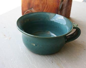 Pottery Soup Mug Dark Aqua Turquoise NC Pottery