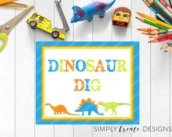 Dinosaur Party Sign DIGITAL sign Party Decor 8.5x11 JPEG and Pdf File INSTANT Download