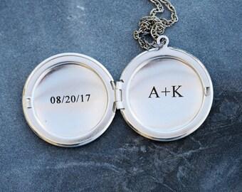 Personalized Locket Necklace,Silver locket,Jewelry,Pendant Necklace,Silver Locket,Locket Necklace,Wedding
