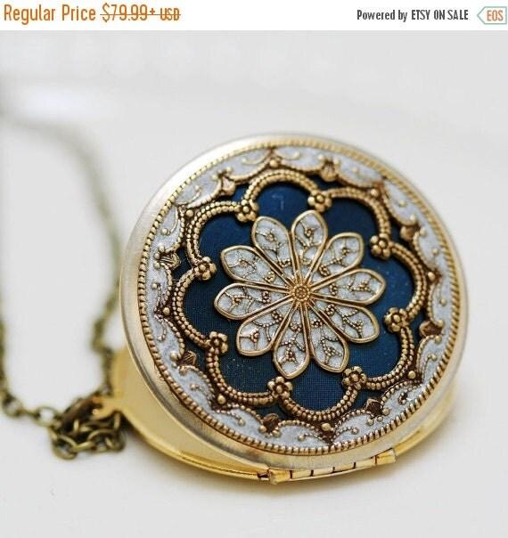 ON SALE Personalized Locket Necklace,Jewelry,Pendant,blue locket,filigree locket,Bridal Necklace ,bridesmaid gift ,Wedding Necklace,Somethin