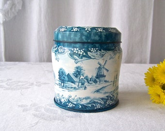 Vintage Kitchen Tin Daher Blue and White Tin Holland Landscape Windmill Made in England Vintage 1960s