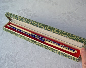 Vintage Cloisonne Chopsticks Cloth Box One Set Of Chopsticks 1970s