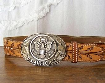 Vintage Belt Buckle U.S. Air Force Solid Brass Belt Buckle by Award Design Medals, Inc. 1980s