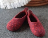 Special Order Red Dotted Wool Slippers, House Shoes, Home Shoes Felted Slippers Choice of Sole