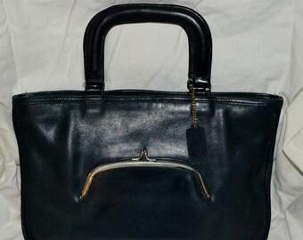 Savings For You COACH~Coach Bonnie Cashin~Coach Bag~Navy Blue~ Bonnie Cashin~ Leather Watermelon  Bag~  Classic Lines~ Unisex Bag~  Fits a I
