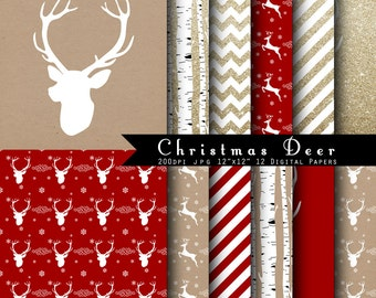 Christmas Deer Digital Scrapbook Papers -Gold Glitter, Red, kraft paper, Deer antler  INSTANT DOWNLOAD