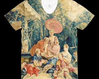 Italian Tapestry - Parasol Picnic - T Shirt - Male