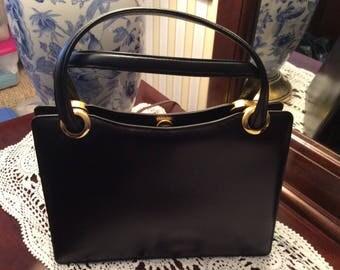 Korea Black Leather Handbag