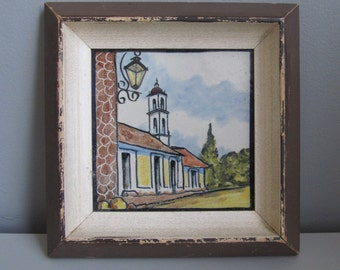 """Vintage Mexican Pictorial Tile Village Square Bell Tower 5"""" x 5"""" Framed Hand Painted 1950s"""