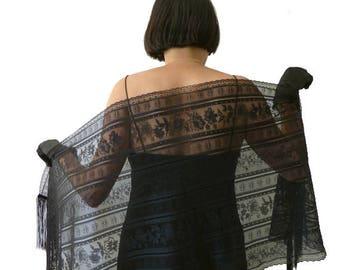 Black Shawl, Black Stole, Black Lace Stole, Black Lace Wrap, Black Elegant Fringe piano, Black Wrap, Evening Shawl,Lace Scarf, Gothic